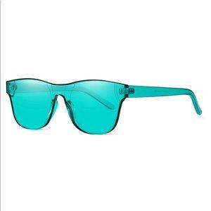 Rimless Wayfarer Sunglasses Retro Blue Classic NEW